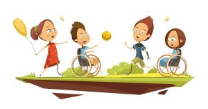 Illustration showing children with a variety of disabilities playing outside. Illustration created by macrovector.